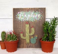 Handmade wooden sign with cactus string art. This item is made with the highest quality wood and supplies available and handmade with love. Each item is made to order and is also customizable. Please let me know if you would like custom colors to match your décor or custom colors for a gift. Size: 9 x 11.5 (This is an approximate size, most signs are exact but due to these items being handmade, some signs might be slightly smaller or larger depending on the piece of wood used.)  Materials…