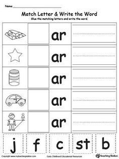 AR Word Family Match Letter and Write the Word: Practice identifying the…