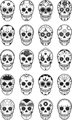 I would love a dia de los muertos tattoo, these are excellent ideas Candy Skulls, Sugar Skulls, Skull Candy Tattoo, Pretty Skull Tattoos, Sugar Skull Pumpkin, Sugar Skull Nails, Small Skull Tattoo, Sugar Skull Art, Gorgeous Tattoos