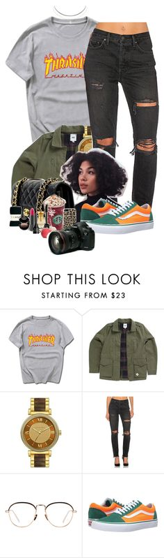 """""""I Love Thrasher"""" by denise-loveable-bray ❤ liked on Polyvore featuring Vans, Michael Kors, GRLFRND, Linda Farrow and Humble Chic"""