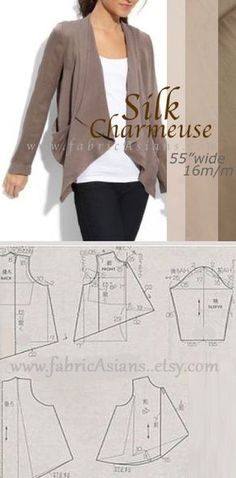 Blazer sewing pattern Free. Silk Charmeuse Blazer Sewing Project. Silk Charmeuse by fabricAsians on etsy