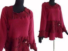 Cashmere Sweater Tunic L/XL Large Red von RebeccasArtCloset auf Etsy