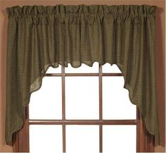 These Tea Cabin Swag Curtains are lined and are made from green, black, and tan plaid.  We also have matching tiers, valances, and panel curtains that are sold separately.  http://www.primitivestarquiltshop.com/Tea-Cabin-Swag-Curtains_p_71.html  $23.95