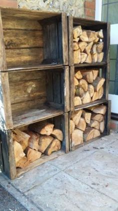 Outdoor Firewood Rack, Firewood Storage, Crate Storage, Record Storage, Wooden Storage Sheds, Storage Shelves, Outdoor Storage, Storage Ideas, Wood Crate Shelves