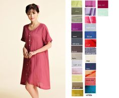Sweet Alyssum/ Linen Dress with Resembling Petals by Ramies