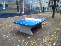 Pingpongtafel Afgerond Blauw bij Anne Frankschool in Amsterdam
