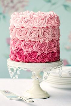 Buy Pink ombre cake by RuthBlack on PhotoDune. Ombre cake in shades of pink Pretty Cakes, Beautiful Cakes, Amazing Cakes, Beautiful Cake Designs, Stunningly Beautiful, Beautiful Things, Food Cakes, Cupcake Cakes, Cupcake Toppers