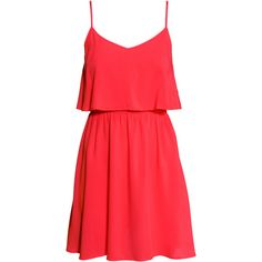 H&M Sleeveless dress (€10) ❤ liked on Polyvore featuring dresses, vestidos, robe, short dresses, coral red, woven dress, red sleeveless dress, red v neck dress, h&m dresses and v-neck dresses