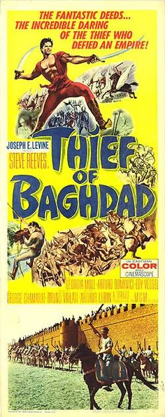 Thief of Baghdad (MGM, Insert X Fantasy. Starring Steve Reeves, Georgia Moll, Edy - Available at Sunday Internet Movie Poster. Steve Reeves, Internet Movies, Original Movie Posters, Baghdad, Vintage Movies, Colour Images, Science Fiction, Bollywood, The Incredibles