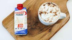 Skinny Caramel Mocha - using Premier Protein drink ☕️ Premier Protein Shakes, Best Protein Shakes, Vanilla Protein Shakes, Protein Shake Recipes, Good Protein Snacks, Protein Foods, Protein Bars, Healthy Foods, Drinks Alcohol Recipes