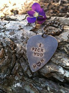 """I Pick You"" engraved guitar pick (from Weddingbells Wedding Quotes)"