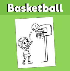 Girl Shooting Hoops - Coloring Page