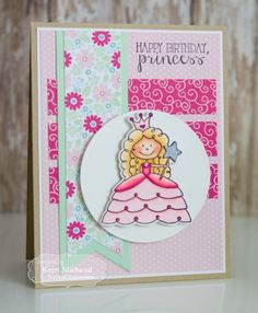 Birthday Princess Card by Kerri Michaud #Cardmaking, #TEMatched, #Birthday, #TE, #ShareJoy