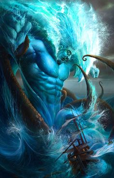 "POSEIDON - He is one of the twelve Olympian deities of the pantheon in Greek mythology. His main domain is the ocean, and he is called the ""God of the Sea"". Additionally, he is referred to as ""Earth-Shaker"" due to his role in causing earthquakes, and has been called the ""tamer of horses"". He is usually depicted as an older male with curly hair and beard."