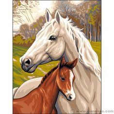 Royal Paris Tapestry RP Canvas Horse and Foal Painted Horses, Pichwai Paintings, Animal Paintings, Horse Drawings, Cool Art Drawings, Easy Canvas Painting, Canvas Art, Beautiful Horse Pictures, Horse Artwork