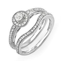 0.55 Carat (ctw) 14k White Gold Round Diamond Ladies Vintage Antique finish Bridal Ring Engagement Matching Band Set