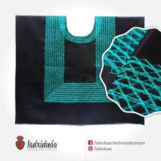 Huipil sencillo negro satinado, con tejido de cadenilla en hilo color turquesa.