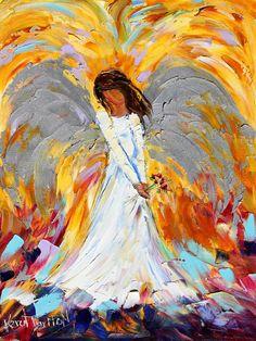 Original oil Angel PALETTE KNiFE painting by Karensfineart
