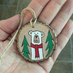 Image result for christmas bear wood burning ornament