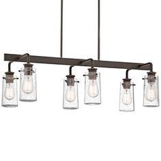 "Kichler 43059 Braelyn 6 Light 34"" Wide Chandelier with Seedy Glass Shades Olde Bronze Indoor Lighting Chandeliers"