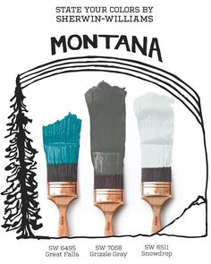 These #chic Sherwin-Williams colors capture the essence of The Treasure State. Paints like Great Falls SW 6495, Grizzle #Gray SW 7068, and Snowdrop SW 6511 celebrate the abundance of #natural #beauty that's unique to #Montana. Click through to see more state palettes.