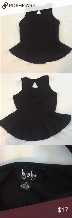 "by by XL black peplum top by by XL black peplum top  sad that this doesnt fit me anymore, it looks soooo cute on. all measurements laying flat  chest: 18""  length: 24"" Tops"