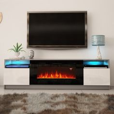 """Orren Ellis 40"""" wide electric fireplace insert included with remote control and on/off control, 3 changeable flame colors, temperature control, timer setting, and dimmer. LED light kit included with remote and 16 changeable colors.Features:Included with remote control and on/off control, 3 changeable flame colors, temperature control, timer setting, and dimmerManufactured in and imported from the European UnionDelaine 02 Electric Fireplace Modern 79"""" TV Stand - Modern TV Stand / TV Console / TV Electric Fireplace Reviews, Wall Mount Electric Fireplace, Corner Sectional, Large Sectional, Sectional Sofa, Fireplace Inserts, Tv Stand With Fireplace, Modern Tv, Modern Living"""