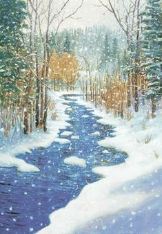 This print is reproduced from an acrylic winter landscape by Monte Dolack. It lets the viewer in on a chilly winter Montana scene. A semi-frozen Rattlesnake Creek, near Missoula, Montana rushes along