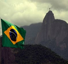 Flaggen / Flags - Südamerika - Brasilien / South America - Brazil  + Cristo Redentor - Christus Statue in Rio de Janeiro