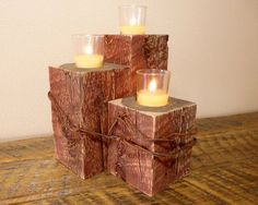 Rustic Red Candle Holder by HomesteadTraditions on Etsy