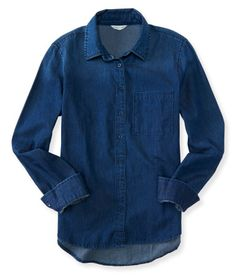 """Searching for a dependable style that's still super cute? Consider your hunt officially over with our Long Sleeve Dark Wash Chambray Woven Shirt! This forever-trendy top features an inky denim wash, open chest pocket and shimmery buttons down the front. Throw it on over a cami for a cool, layered look.<br><br>Relaxed fit. Approx. length (S): 25.5""""<br>Style: 7970. Imported.<br><br>100% cotton.<br>Machine wash/dry."""