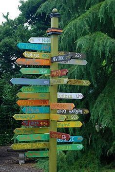 Travel sign for the yard - all the places you have been together.