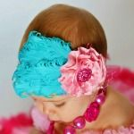 Gorgeous aqua and pink feather headband with optional matching petti dress | BornChicBoutique.com