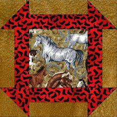 Horses Western Boots PRE-CUT Quilt Kit Blocks