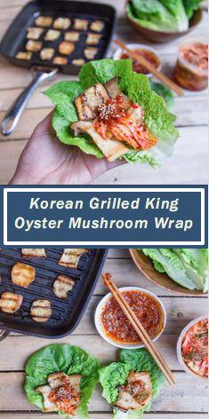 Korean Grilled King Oyster Mushrooms Wrap