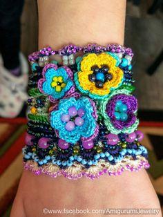 Crochet Bracelet Cuff. Free Form Crochet Bracelet. Crochet