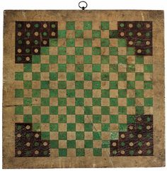 "Halma game board. 19th century painted wood. Halma (from the Greek word ἅλμα meaning ""jump"") is a board game invented in 1883 or 1884 by an American thoracic surgeon at Harvard Medical School, George Howard Monks. The inspiration was an English game called Hoppity, which was devised in 1854."