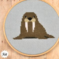 Walrus Cross Stitch Kit by Sewingseed on Etsy, $20.00