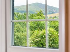 The wonderful mountain views from the bedrooms at Lund Cottage in Lamplugh.