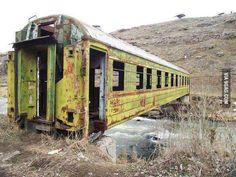 Abandoned train makes a bridge