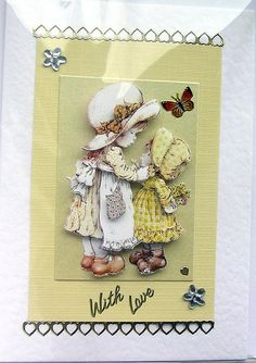Sisters HandCrafted 3D Decoupage Card  With Love by SunnyCrystals, $3.55 Buy Two or more Decoupage Cards and receive 10% Discount