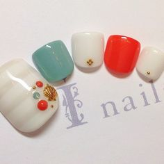 かわいいネイルを見つけたよ♪ #nailbook Feet Nail Design, Toe Nail Designs, Cute Toe Nails, Toe Nail Art, Aloha Nails, Broken Nails, Feet Nails, Toenails, Sharp Nails
