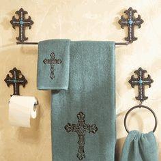 Turquoise Cross Metal Bath Hardware