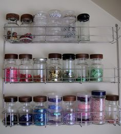 If I could ever find spice bottles like these...awesome bead storage