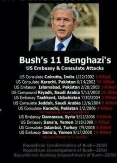 Fine - you want a hearing - let's start some hearings shall we?  Source: Blue Nation Review. In total, Congress has held 21 hearings on the Benghazi attacks in which four Americans died, across the various investigations. As a contrast, it held 22 hearings looking into what happened on 9/11, where 3,000 people died.
