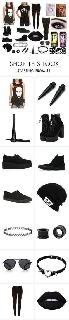 """Marilyn Manson"" by abipatterson on Polyvore featuring ZuZu Luxe, Karl Lagerfeld, Converse, Vans, The Row, River Island and Lime Crime"