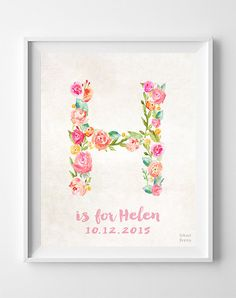 Initial Poster, Decor Idea, Arty Print, Pretty Initial, Initial Art, Hanah, Harmony, Hayden, Heidi, Is for, Gift Idea, Easter Decorations