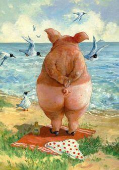 The Wonderful Illustrations of Rudi Hurzlmeier As an illustrator Hurzlmeier worked with Wiglaf Droste , Hans Zippert , Fritz Eckenga and Harry Rowohlt together. Illustration Mignonne, Cute Illustration, This Little Piggy, Little Pigs, Sketch Manga, Art Fantaisiste, Illustrator, Pig Art, Flying Pig