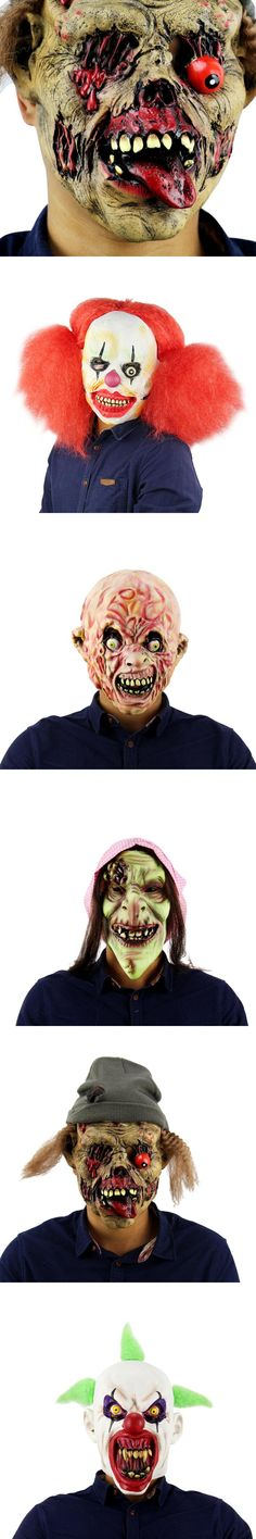 Halloween Clown Masks Silicone Scary Zombie Latex Mask Party Terror Devil Ghoul Predator Realistic For Carnaval Easter