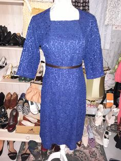 Blue lace dress from the 50s. Blå spetsklänning från 50 talet. Storlek 40
